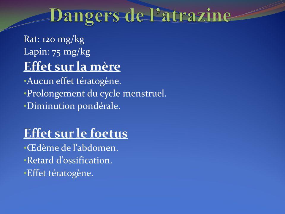 Rat: 120 mg/kg Lapin: 75 mg/kg Effet sur la mère Aucun effet tératogène. Prolongement du cycle menstruel. Diminution pondérale. Effet sur le foetus Œd