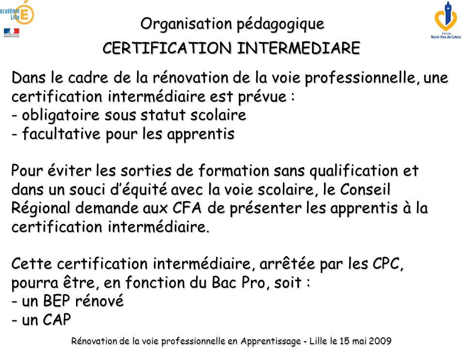 Dans le cadre de la rénovation de la voie professionnelle, une certification intermédiaire est prévue : - obligatoire sous statut scolaire - facultati