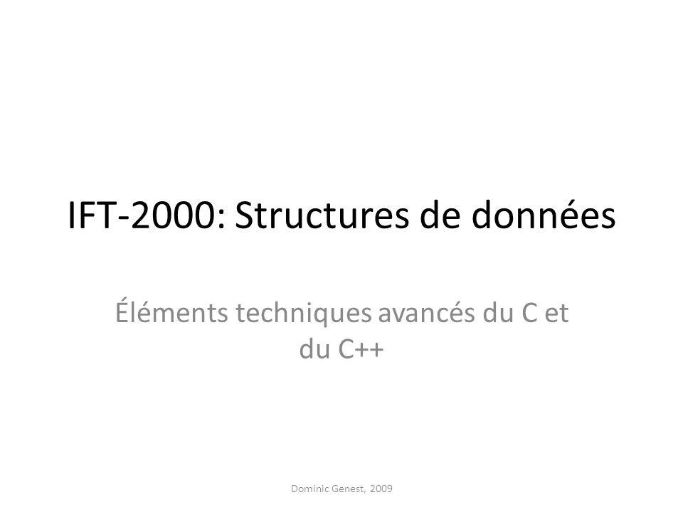 IFT-2000: Structures de données Éléments techniques avancés du C et du C++ Dominic Genest, 2009