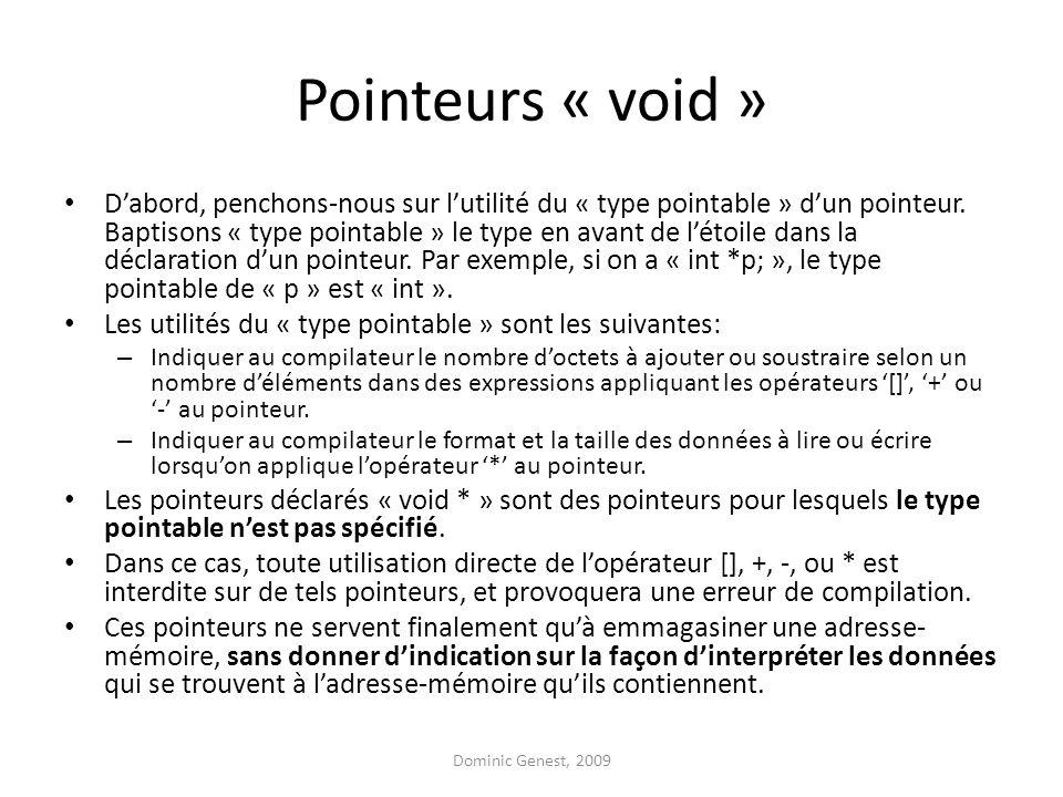 Pointeurs « void » D'abord, penchons-nous sur l'utilité du « type pointable » d'un pointeur.