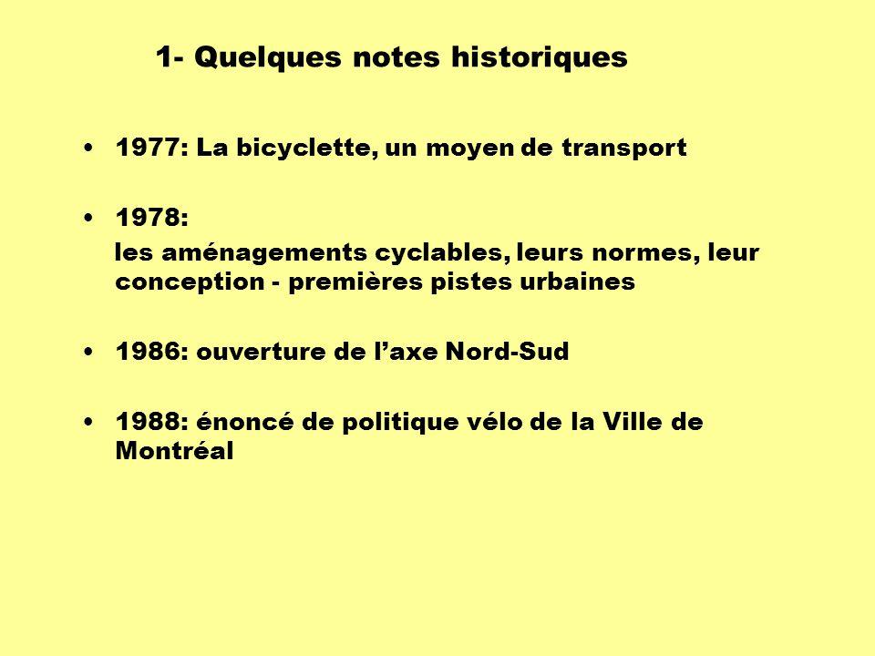 1977: La bicyclette, un moyen de transport 1978: les aménagements cyclables, leurs normes, leur conception - premières pistes urbaines 1986: ouverture de l'axe Nord-Sud 1988: énoncé de politique vélo de la Ville de Montréal 1- Quelques notes historiques