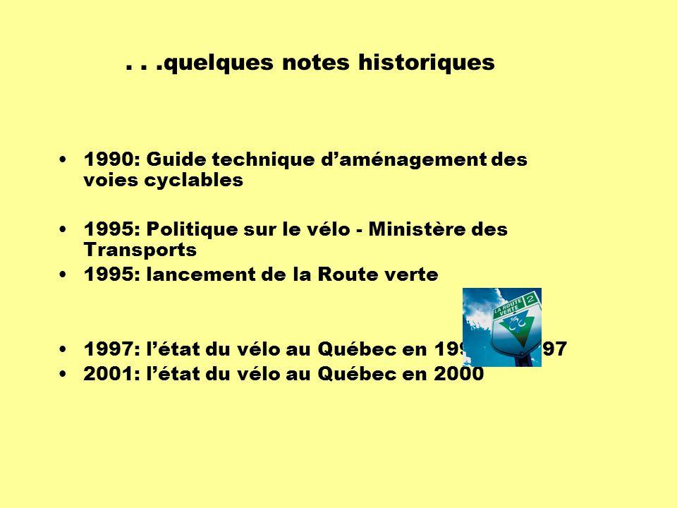 1990: Guide technique d'aménagement des voies cyclables 1995: Politique sur le vélo - Ministère des Transports 1995: lancement de la Route verte 1997: l'état du vélo au Québec en 1995 et 1997 2001: l'état du vélo au Québec en 2000...quelques notes historiques