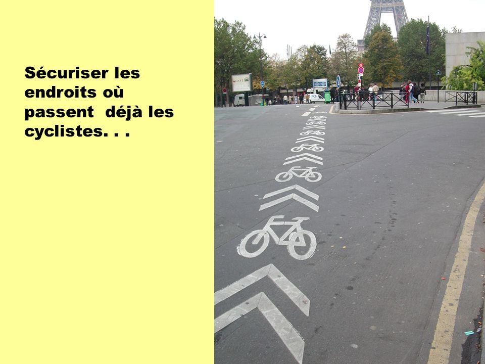 Sécuriser les endroits où passent déjà les cyclistes...