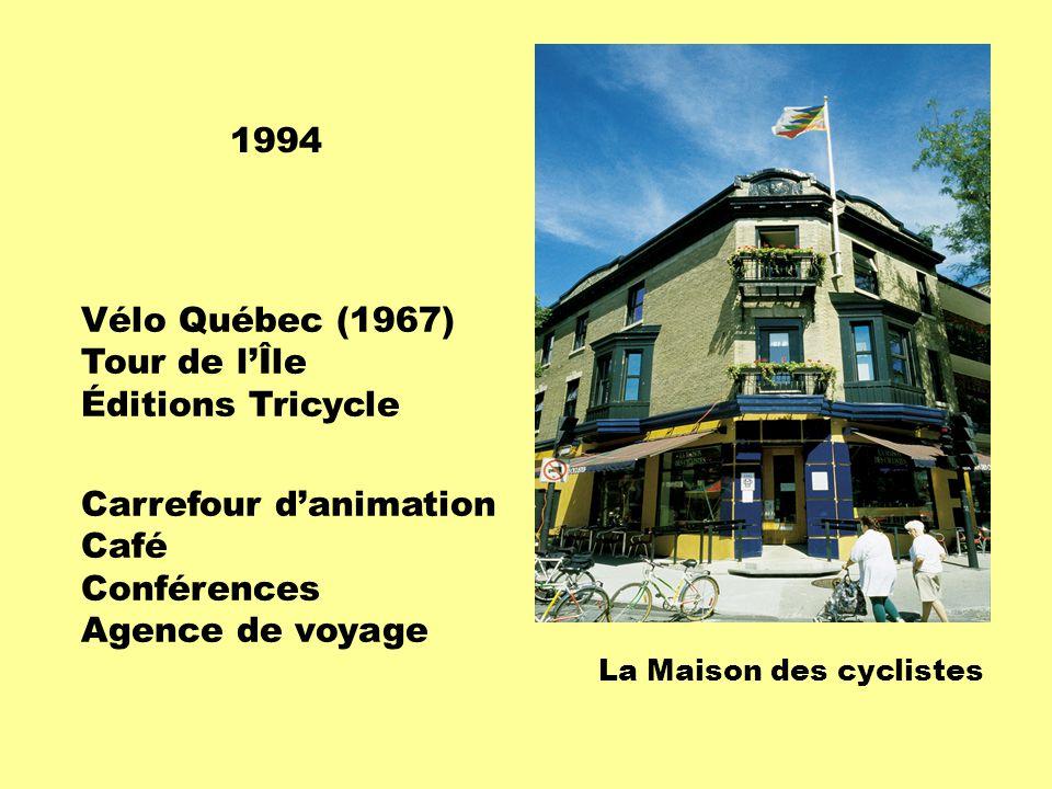 La Maison des cyclistes 1994 Vélo Québec (1967) Tour de l'Île Éditions Tricycle Carrefour d'animation Café Conférences Agence de voyage