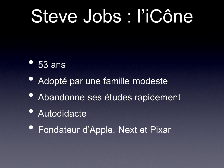 53 ans Adopté par une famille modeste Abandonne ses études rapidement Autodidacte Fondateur d'Apple, Next et Pixar Steve Jobs : l'iCône