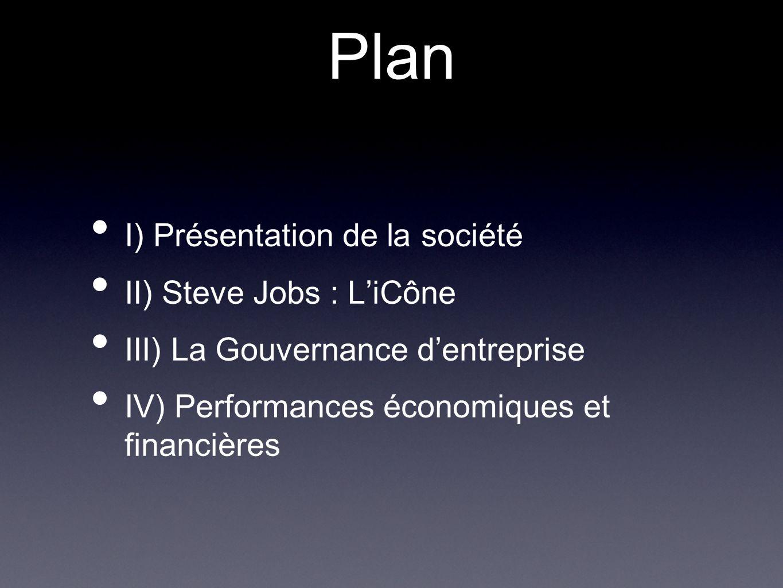 Plan I) Présentation de la société II) Steve Jobs : L'iCône III) La Gouvernance d'entreprise IV) Performances économiques et financières