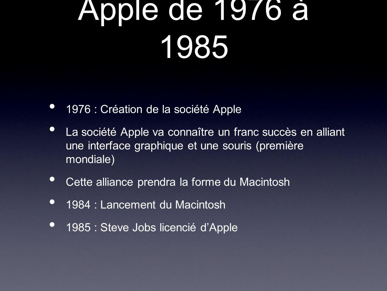 1976 : Création de la société Apple La société Apple va connaître un franc succès en alliant une interface graphique et une souris (première mondiale)