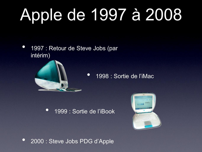 Apple de 1997 à 2008 1997 : Retour de Steve Jobs (par intérim) 1998 : Sortie de l'iMac 2000 : Steve Jobs PDG d'Apple 1999 : Sortie de l'iBook
