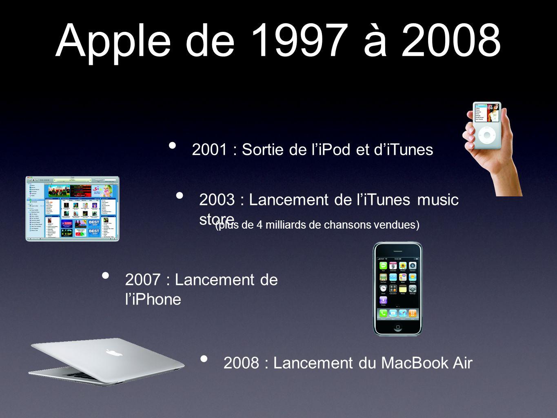 Apple de 1997 à 2008 2003 : Lancement de l'iTunes music store 2007 : Lancement de l'iPhone 2008 : Lancement du MacBook Air 2001 : Sortie de l'iPod et