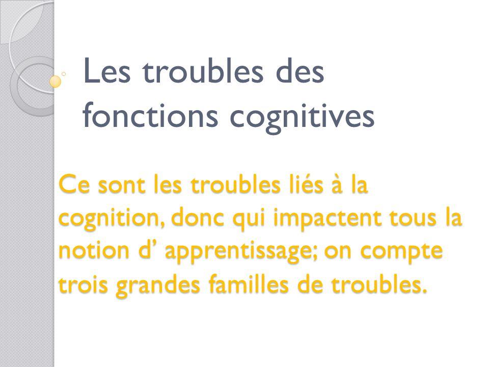 - les troubles cognitifs, y compris les troubles envahissants du développement - les troubles spécifiques du langage - les troubles moteurs Les troubl