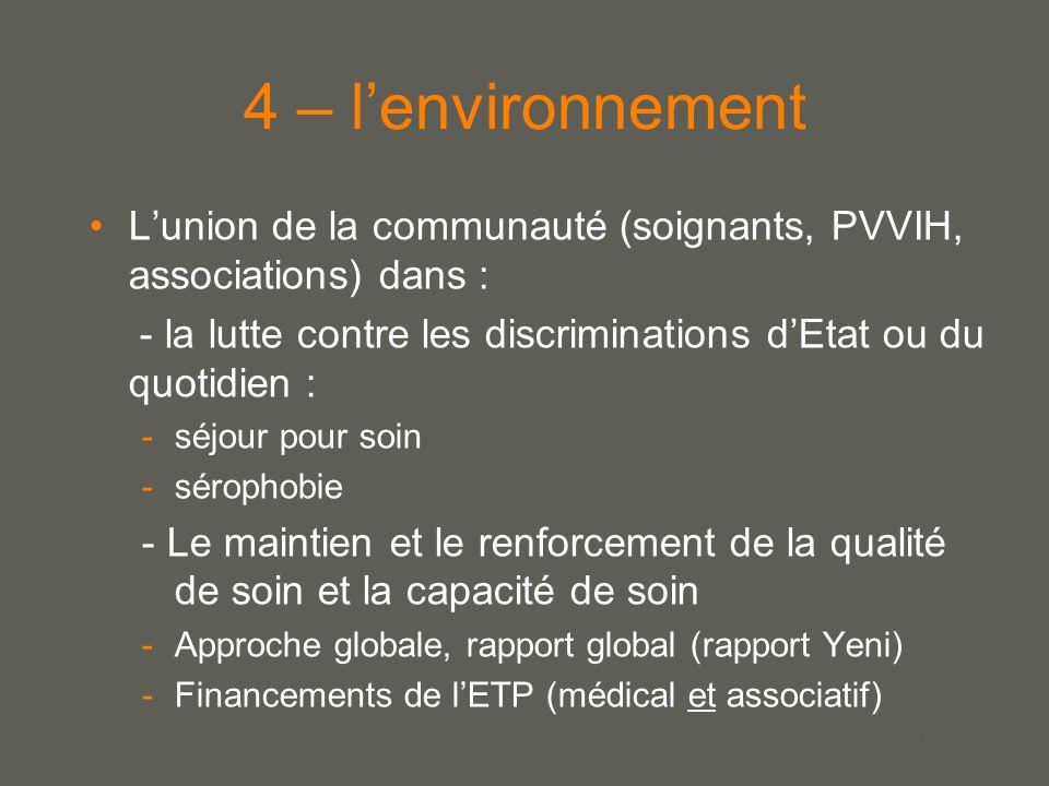 your name 4 – l'environnement L'union de la communauté (soignants, PVVIH, associations) dans : - la lutte contre les discriminations d'Etat ou du quotidien : -séjour pour soin -sérophobie - Le maintien et le renforcement de la qualité de soin et la capacité de soin -Approche globale, rapport global (rapport Yeni) -Financements de l'ETP (médical et associatif)