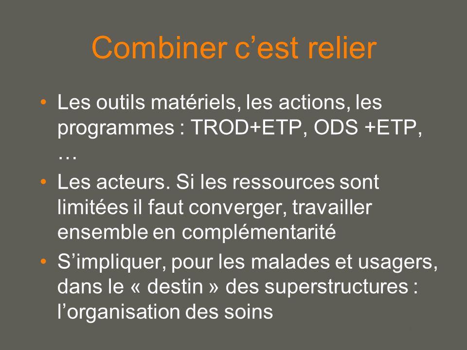 your name Combiner c'est relier Les outils matériels, les actions, les programmes : TROD+ETP, ODS +ETP, … Les acteurs.