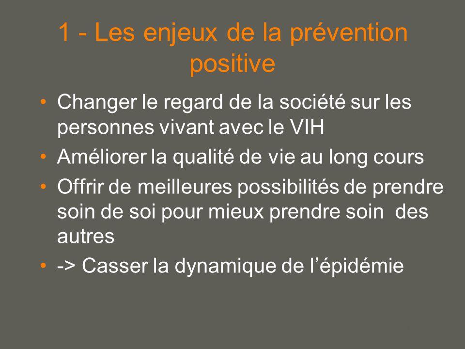 your name 1 - Les enjeux de la prévention positive Changer le regard de la société sur les personnes vivant avec le VIH Améliorer la qualité de vie au long cours Offrir de meilleures possibilités de prendre soin de soi pour mieux prendre soin des autres -> Casser la dynamique de l'épidémie