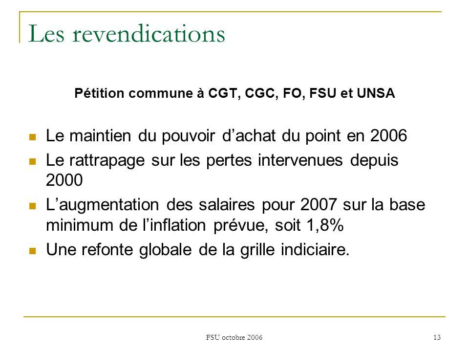 FSU octobre 2006 13 Les revendications Pétition commune à CGT, CGC, FO, FSU et UNSA Le maintien du pouvoir d'achat du point en 2006 Le rattrapage sur les pertes intervenues depuis 2000 L'augmentation des salaires pour 2007 sur la base minimum de l'inflation prévue, soit 1,8% Une refonte globale de la grille indiciaire.