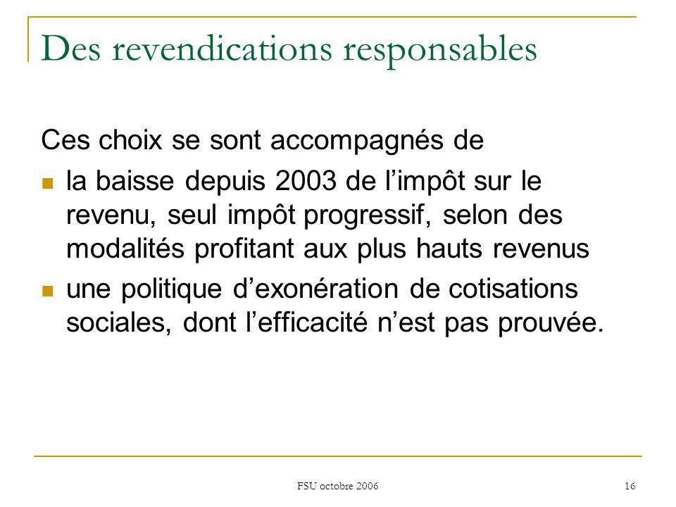 FSU octobre 2006 16 Des revendications responsables Ces choix se sont accompagnés de la baisse depuis 2003 de l'impôt sur le revenu, seul impôt progressif, selon des modalités profitant aux plus hauts revenus une politique d'exonération de cotisations sociales, dont l'efficacité n'est pas prouvée.