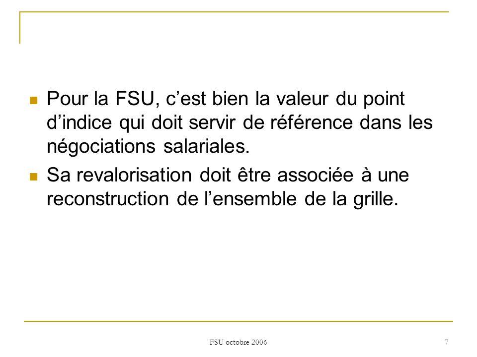 FSU octobre 2006 7 Pour la FSU, c'est bien la valeur du point d'indice qui doit servir de référence dans les négociations salariales.