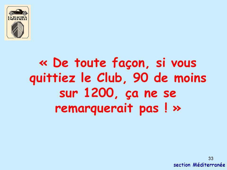 33 section Méditerranée « De toute façon, si vous quittiez le Club, 90 de moins sur 1200, ça ne se remarquerait pas ! »