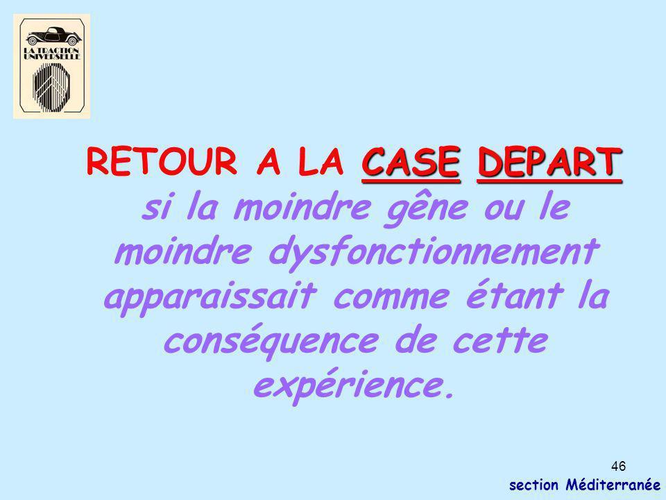46 section Méditerranée CASE DEPART RETOUR A LA CASE DEPART si la moindre gêne ou le moindre dysfonctionnement apparaissait comme étant la conséquence de cette expérience.