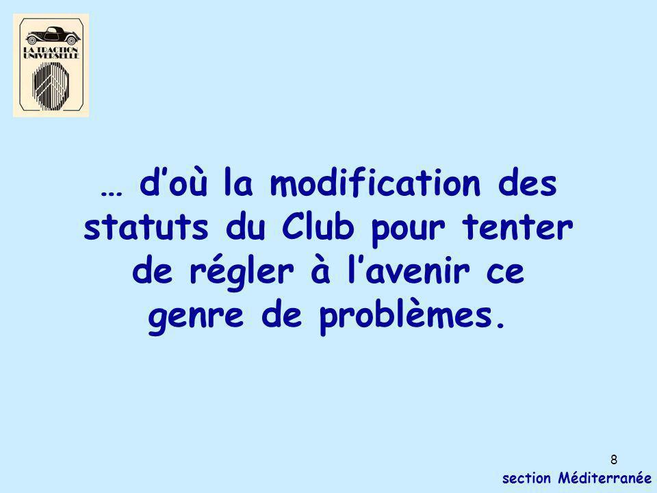 8 section Méditerranée … d'où la modification des statuts du Club pour tenter de régler à l'avenir ce genre de problèmes.