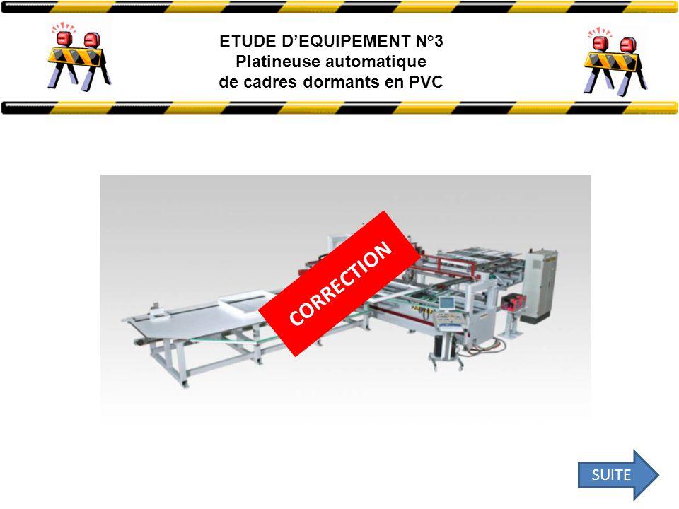 ETUDE D'EQUIPEMENT N°3 Platineuse automatique de cadres dormants en PVC CORRECTION SUITE