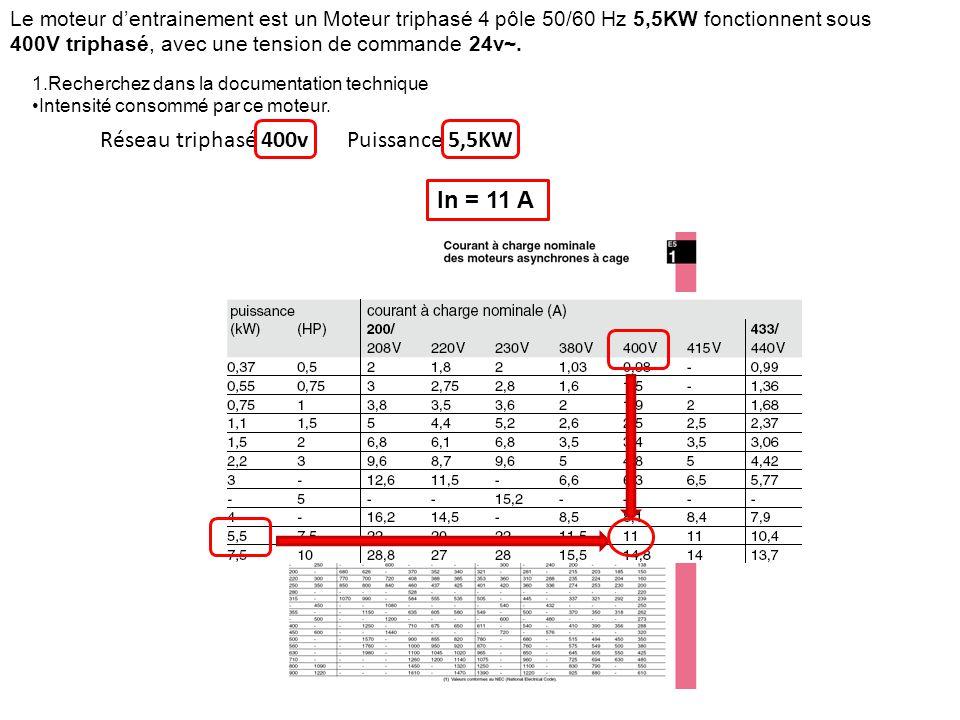 Réseau triphasé 400vPuissance 5,5KW In = 11 A Le moteur d'entrainement est un Moteur triphasé 4 pôle 50/60 Hz 5,5KW fonctionnent sous 400V triphasé, a