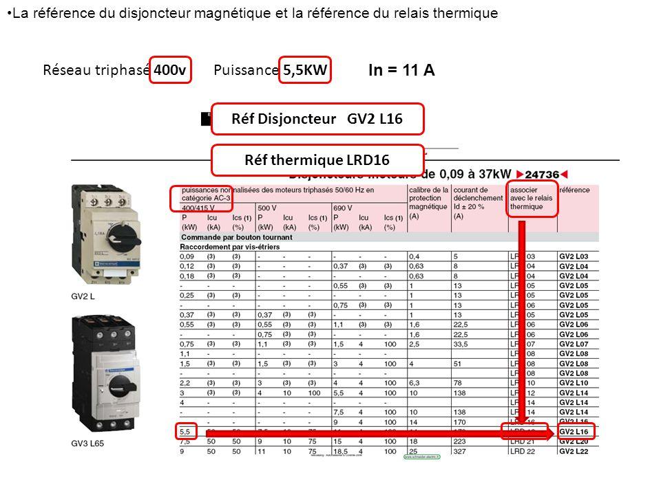 Réseau triphasé 400vPuissance 5,5KW In = 11 A Réf Disjoncteur GV2 L16 Réf thermique LRD16 La référence du disjoncteur magnétique et la référence du re