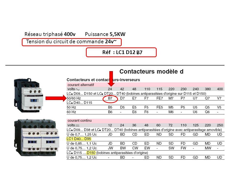 Réseau triphasé 400vPuissance 5,5KW Tension du circuit de commande 24v~ Réf : LC1 D12.. B7
