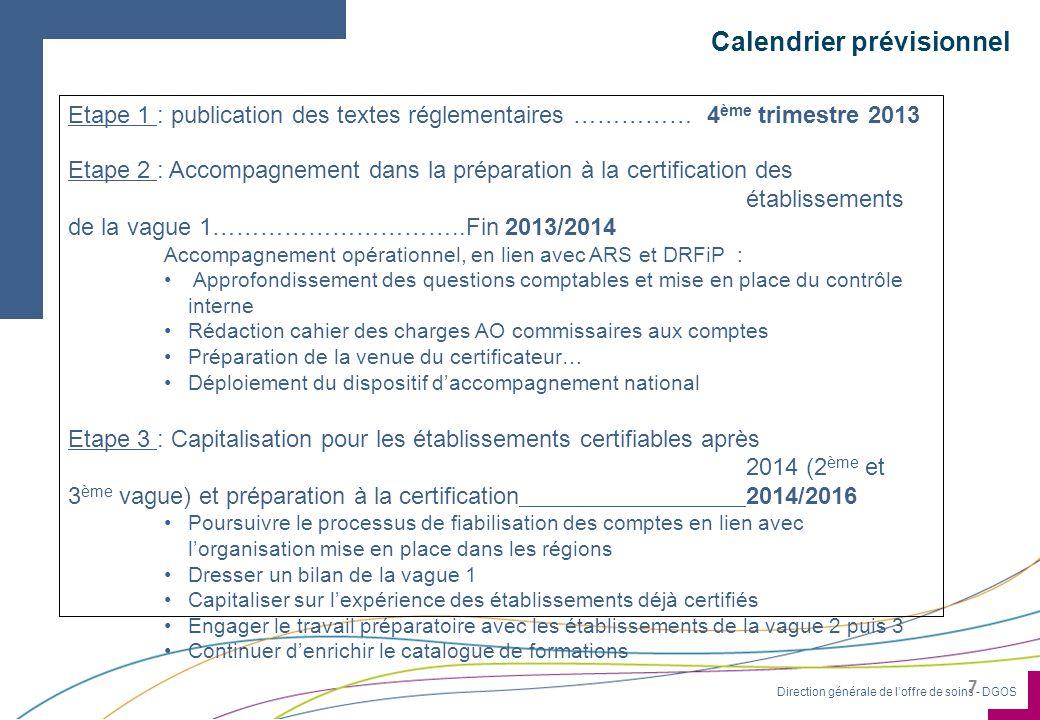 Direction générale de l'offre de soins - DGOS Calendrier prévisionnel 7 Etape 1 : publication des textes réglementaires …………… 4 ème trimestre 2013 Eta