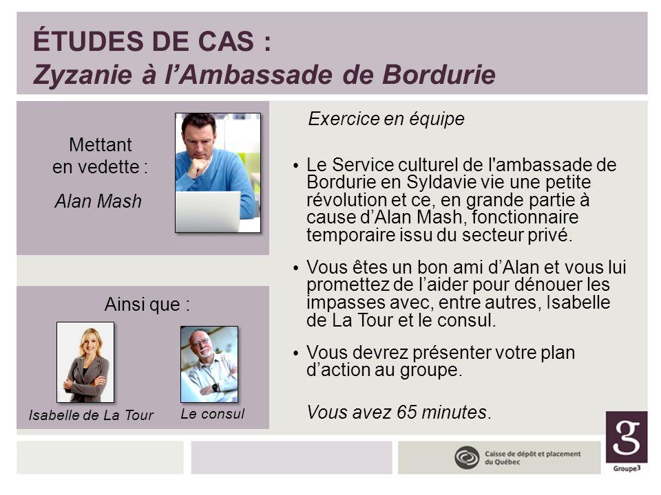 ÉTUDES DE CAS : Zyzanie à l'Ambassade de Bordurie Exercice en équipe Le Service culturel de l'ambassade de Bordurie en Syldavie vie une petite révolut