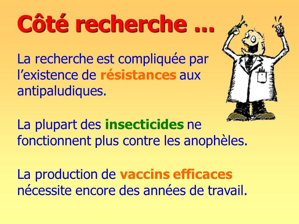Côté recherche...La plupart des insecticides ne fonctionnent plus contre les anophèles.
