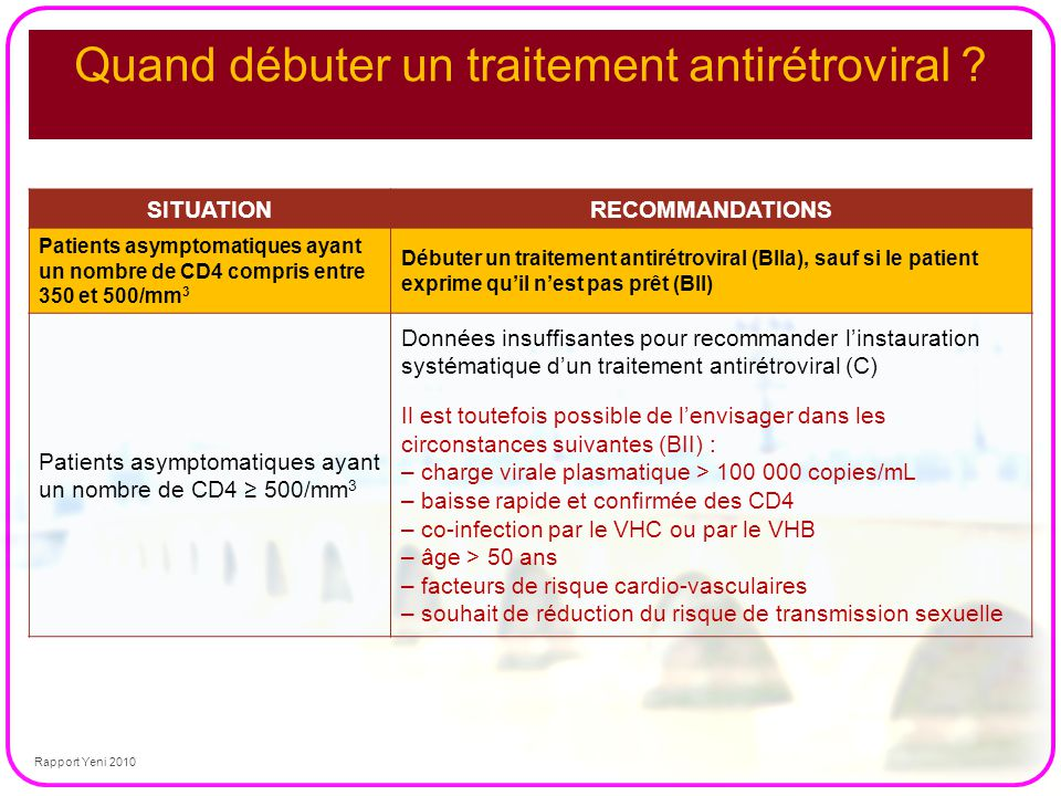 Quand débuter un traitement antirétroviral ? SITUATIONRECOMMANDATIONS Patients asymptomatiques ayant un nombre de CD4 compris entre 350 et 500/mm 3 Dé