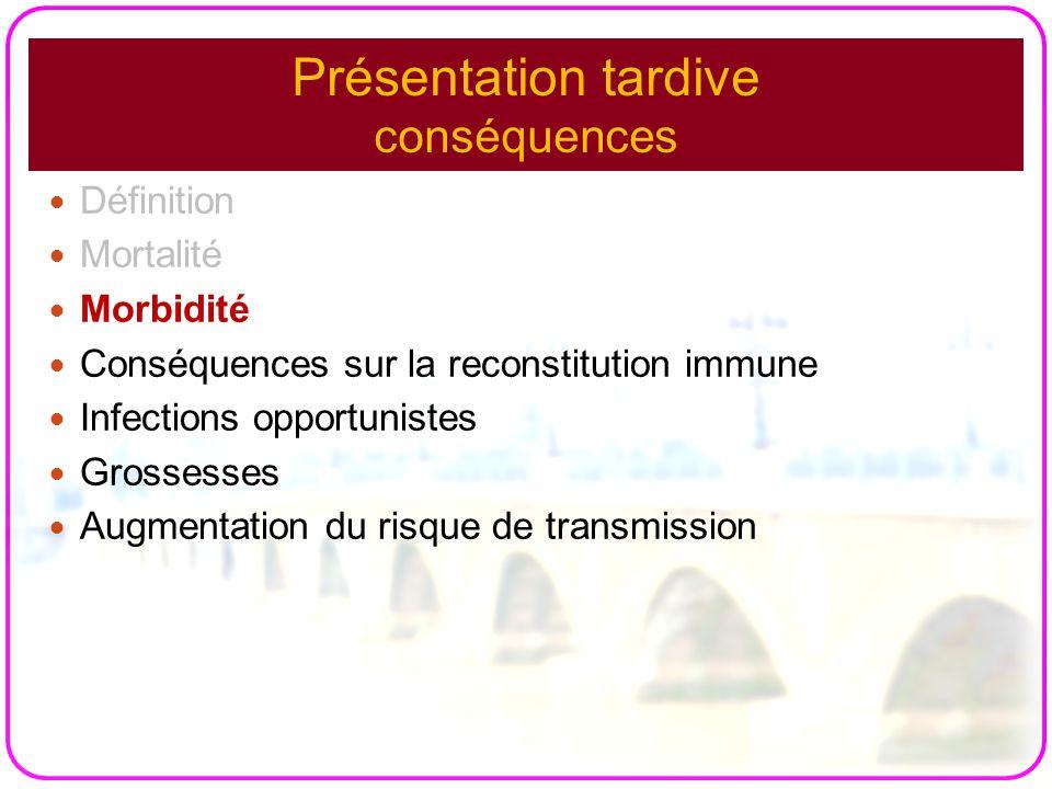 Présentation tardive conséquences Définition Mortalité Morbidité Conséquences sur la reconstitution immune Infections opportunistes Grossesses Augment