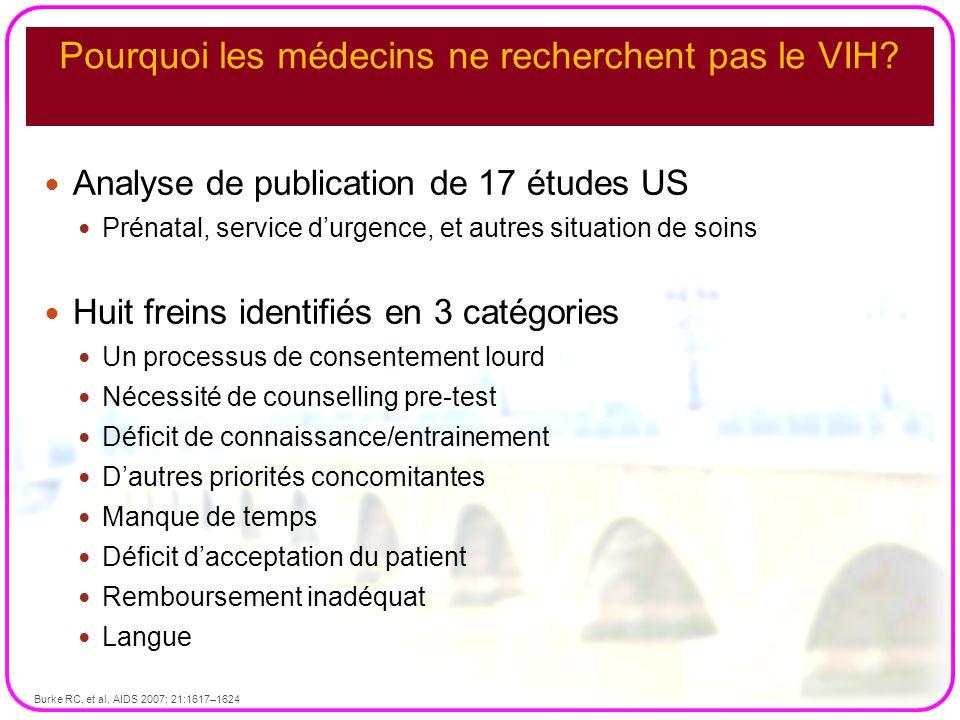 Pourquoi les médecins ne recherchent pas le VIH? Analyse de publication de 17 études US Prénatal, service d'urgence, et autres situation de soins Huit