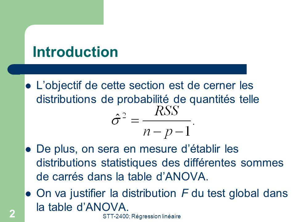 STT-2400; Régression linéaire 3 Remarque: hypothèse de normalité Afin d'obtenir les distributions exactes on doit présumer: Pour un vecteur aléatoire on considère sa norme: La loi de la norme est telle que: C'est un exemple de distribution khi-carrée centrée: