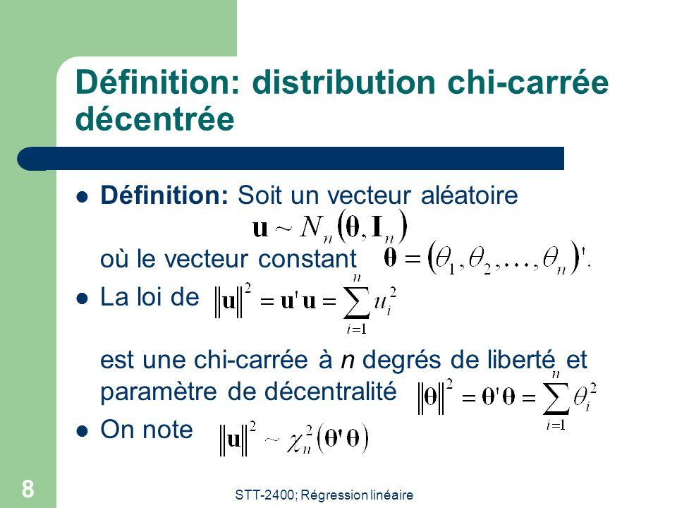 STT-2400; Régression linéaire 9 Définition: distribution F de Fisher décentrée Définition: Considérons U et V deux variables aléatoires indépendantes: La loi de la variable aléatoire: est dite une loi de Fisher décentrée de degrés de liberté (m,n) et paramètre de décentralité.