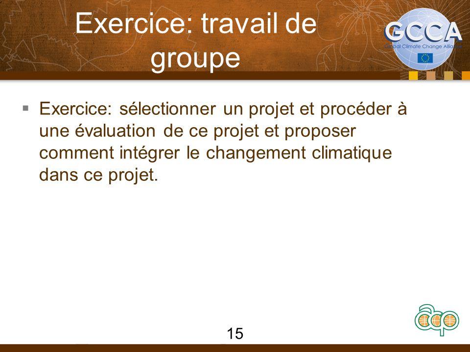 Exercice: travail de groupe  Exercice: sélectionner un projet et procéder à une évaluation de ce projet et proposer comment intégrer le changement climatique dans ce projet.