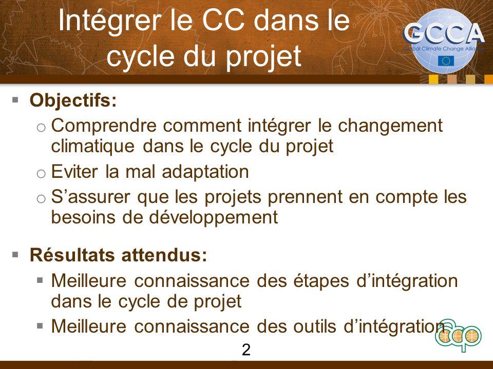 Intégrer le CC dans le cycle du projet  Objectifs: o Comprendre comment intégrer le changement climatique dans le cycle du projet o Eviter la mal adaptation o S'assurer que les projets prennent en compte les besoins de développement  Résultats attendus:  Meilleure connaissance des étapes d'intégration dans le cycle de projet  Meilleure connaissance des outils d'intégration 2