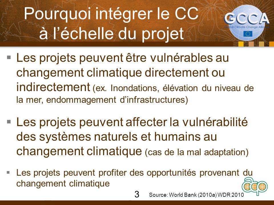Pourquoi intégrer le CC à l'échelle du projet  Les projets peuvent être vulnérables au changement climatique directement ou indirectement (ex.