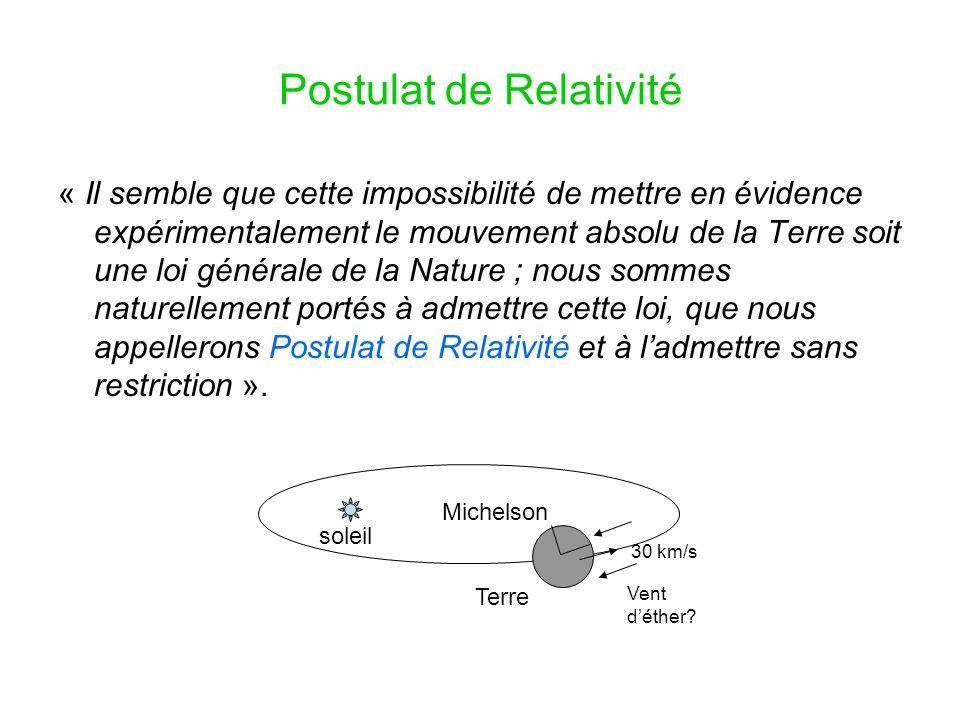 Ces équations [Maxwell] sont susceptibles d'une transformation remarquable découverte par Lorentz, et que nous appellerons « transformations de Lorentz », et qui doit son intérêt à ce qu'elle explique pourquoi aucune expérience n'est susceptible de nous faire connaître le mouvement absolu de l'Univers.