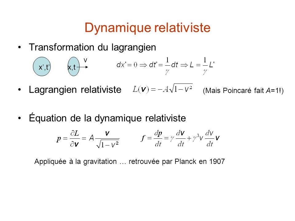 Contraction de Lorentz, pression de Poincaré Supposons un électron unique animé d'un mouvement de translation rectiligne et uniforme … on peut, grâce à la [TL], ramener l'étude du champ déterminé par cet électron au cas où l'électron serait immobile … ε -ε=v électron (') au repos, idéal électron en mvt v x'²+y'²+z'²=r'²γ ²l²( x-vt )² +l²y²+l²z²=r'² Contraction de Lorentz: l =1 TA