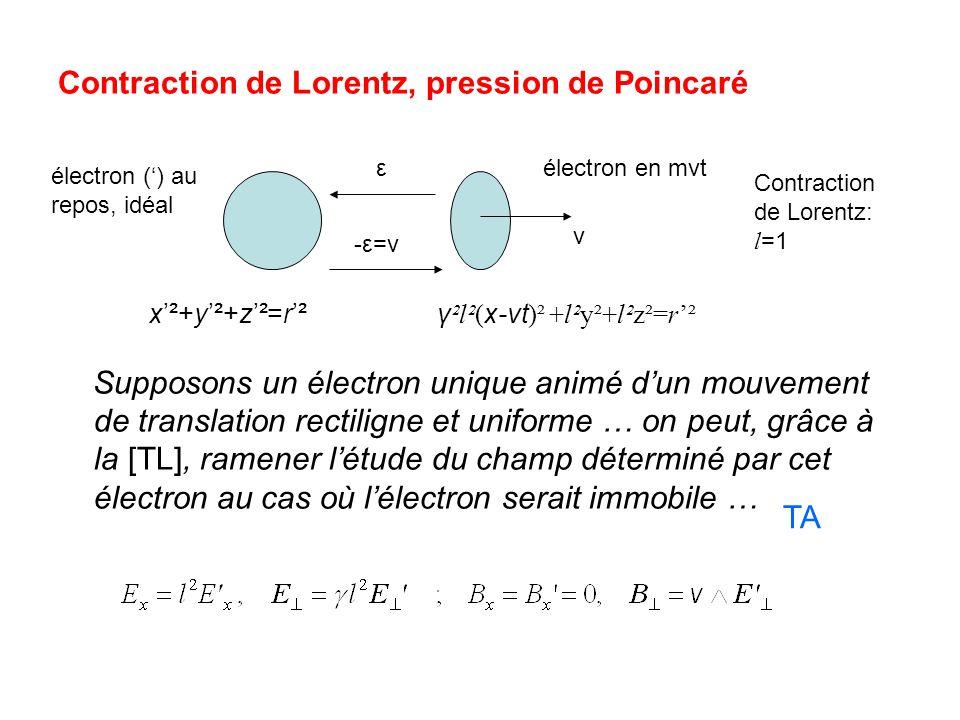 Électron sphérique : tout est fonction de W', énergie électrostatique de l'électron au repos pour l=1 (relativiste) OK Explication : électron instable Poincaré surpris