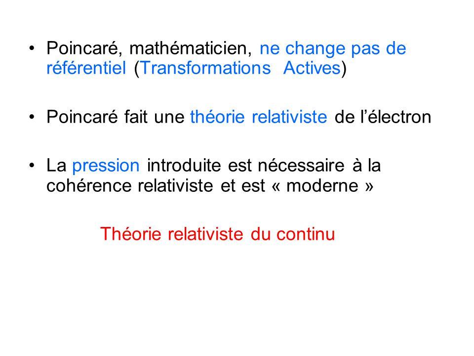 Poincaré, mathématicien, ne change pas de référentiel (Transformations Actives) Poincaré fait une théorie relativiste de l'électron La pression introd