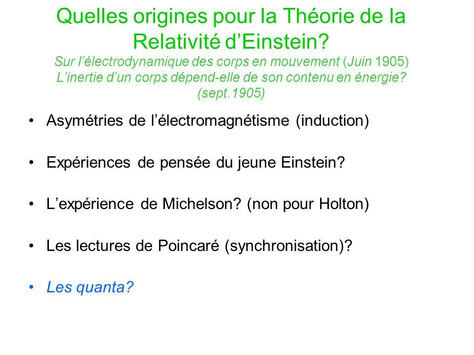La vision duale d'Einstein de la lumière Sur un point de vue heuristique concernant la production et la transformation de la lumière (Mars 1905) Corps noir E = Vf( ν,T) Wien 1896 Planck 1900 rayonnement T V
