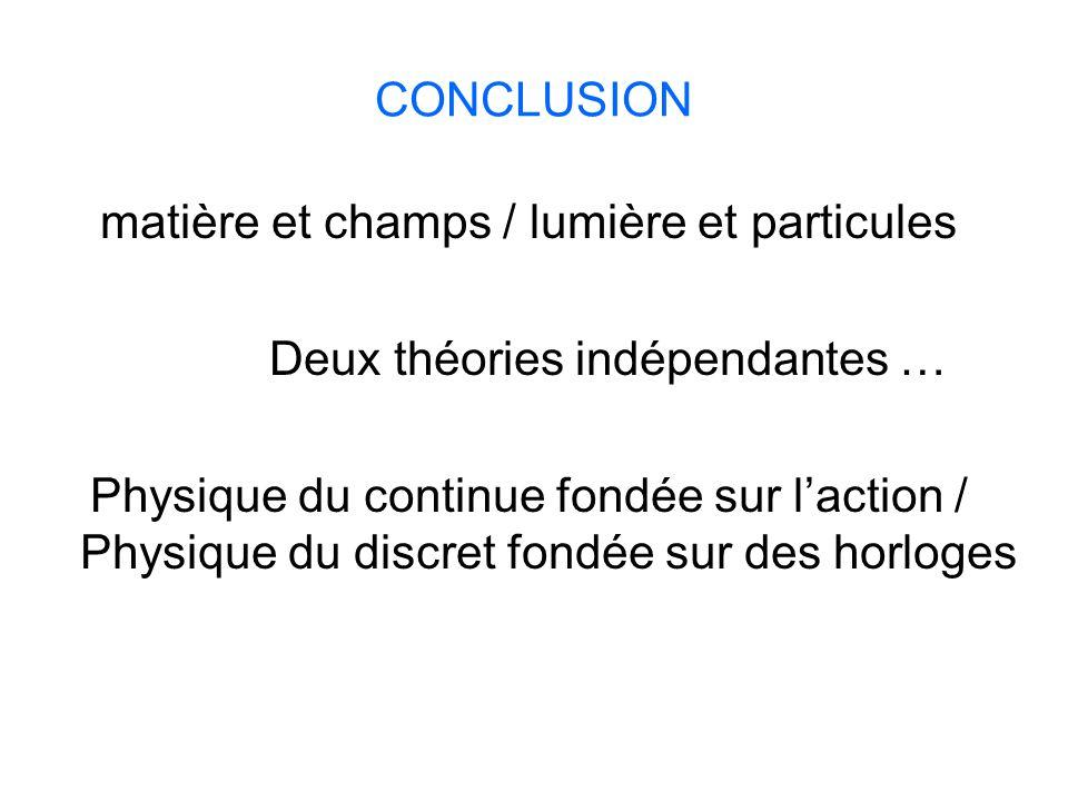 CONCLUSION matière et champs / lumière et particules Deux théories indépendantes … Physique du continue fondée sur l'action / Physique du discret fond