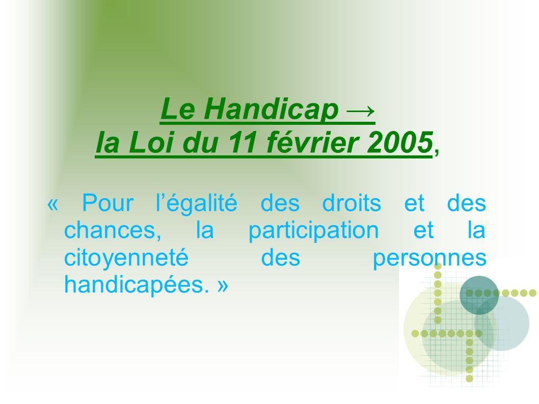 Le Handicap → la Loi du 11 février 2005, « Pour l'égalité des droits et des chances, la participation et la citoyenneté des personnes handicapées. »