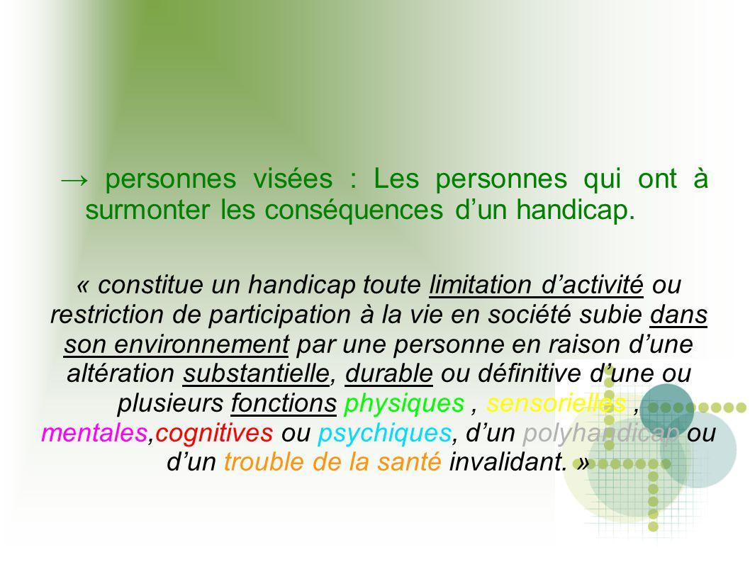 → personnes visées : Les personnes qui ont à surmonter les conséquences d'un handicap. « constitue un handicap toute limitation d'activité ou restrict