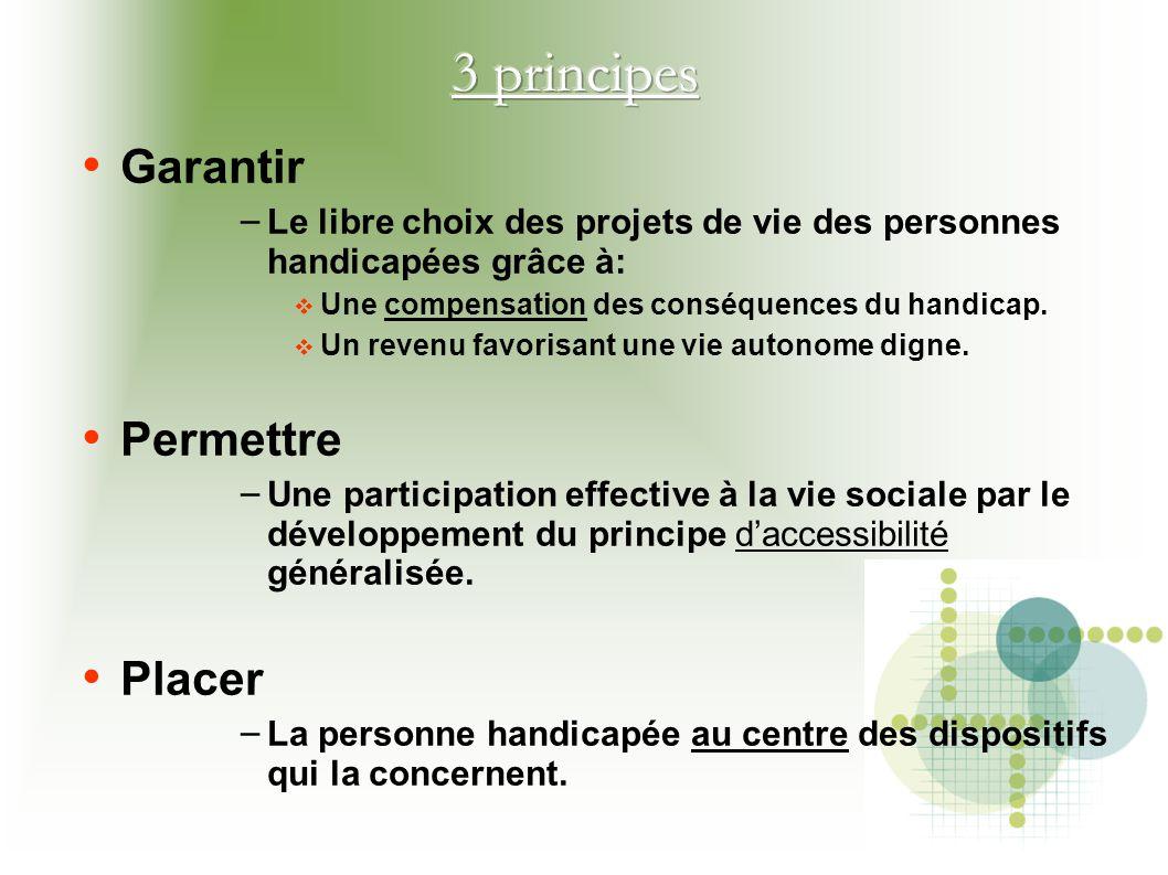 Garantir – Le libre choix des projets de vie des personnes handicapées grâce à:  Une compensation des conséquences du handicap.  Un revenu favorisan