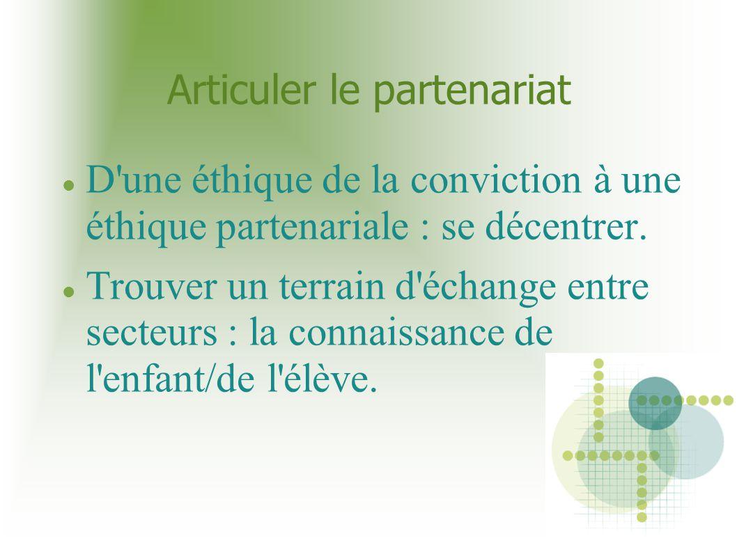 Articuler le partenariat D'une éthique de la conviction à une éthique partenariale : se décentrer. Trouver un terrain d'échange entre secteurs : la co