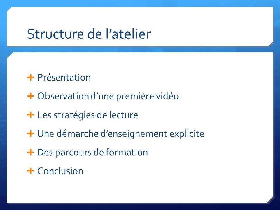 Structure de l'atelier  Présentation  Observation d'une première vidéo  Les stratégies de lecture  Une démarche d'enseignement explicite  Des parcours de formation  Conclusion