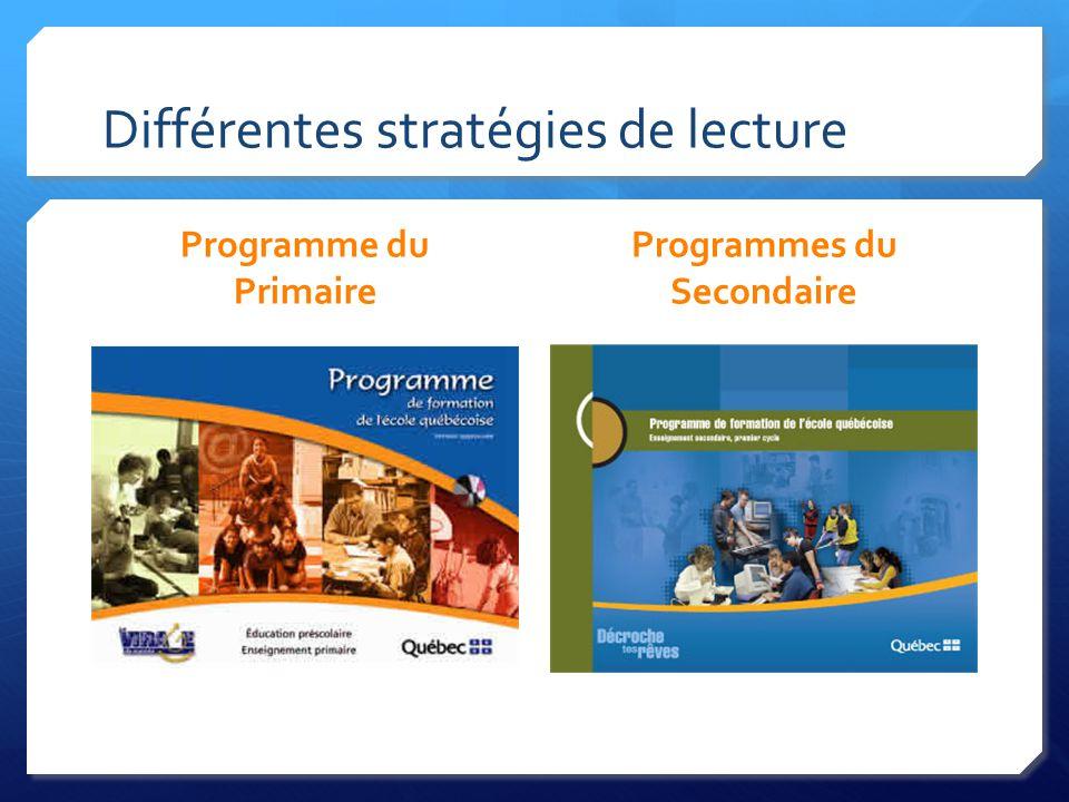 Différentes stratégies de lecture Programme du Primaire Programmes du Secondaire